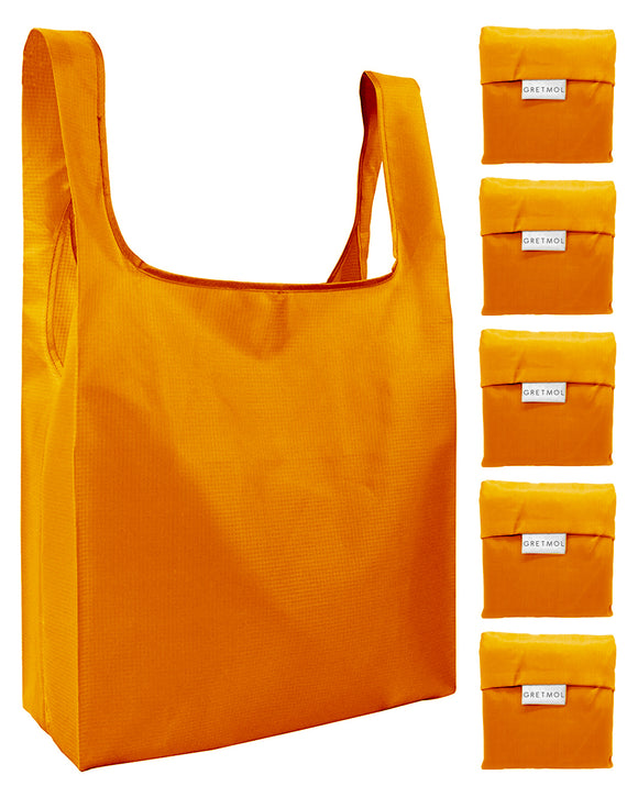Reusable Grocery Bags 5 Pack Foldable Shopping Tote Bag - Orange