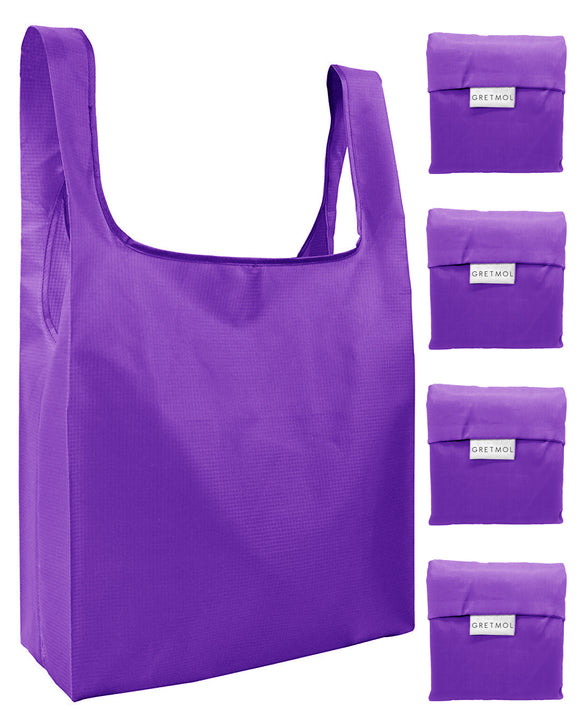Reusable Grocery Bags 4 Pack Foldable Shopping Tote Bag - Purple