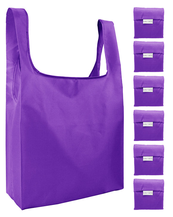 Reusable Grocery Bags 6 Pack Foldable Shopping Tote Bag - Purple