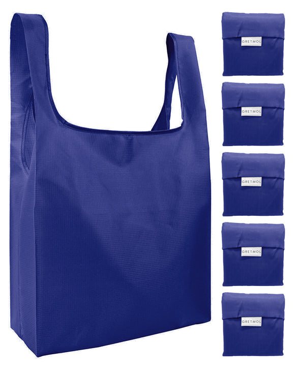 Reusable Grocery Bags 5 Pack Foldable Shopping Tote Bag - Blue