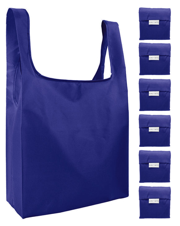Reusable Grocery Bags 6 Pack Foldable Shopping Tote Bag - Blue