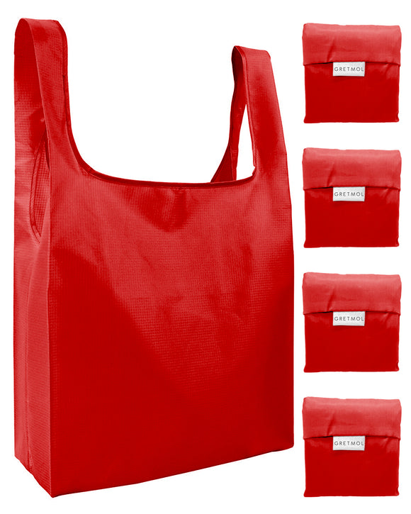 Reusable Grocery Bags 4 Pack Foldable Shopping Tote Bag - Red