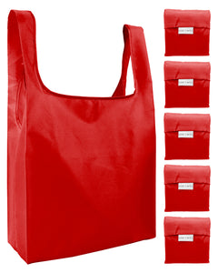 Reusable Grocery Bags 5 Pack Foldable Shopping Tote Bag - Red