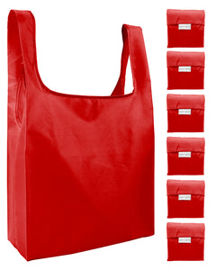 Reusable Grocery Bags 6 Pack Foldable Shopping Tote Bag - Red
