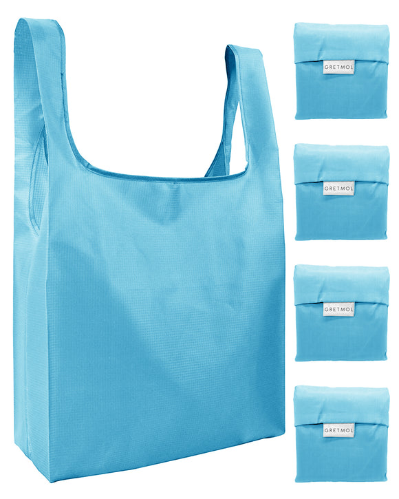 Reusable Grocery Bags 4 Pack Foldable Shopping Tote Bag - Sky Blue