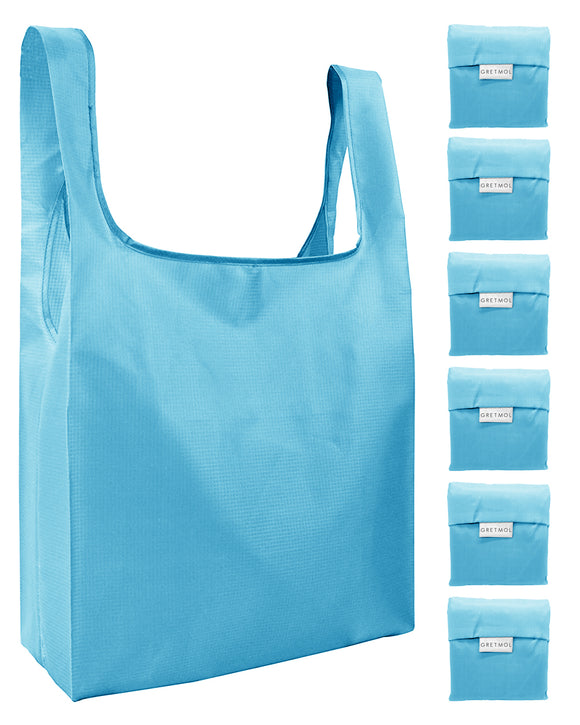 Reusable Grocery Bags 6 Pack Foldable Shopping Tote Bag - Sky Blue