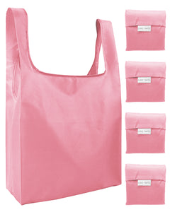 Reusable Grocery Bags 4 Pack Foldable Shopping Tote Bag - Salmon