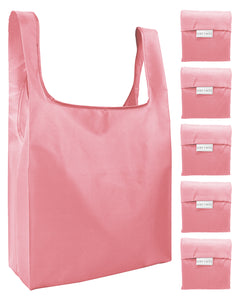 Reusable Grocery Bags 5 Pack Foldable Shopping Tote Bag - Salmon