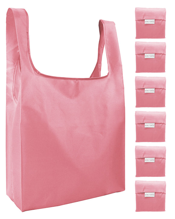 Reusable Grocery Bags 6 Pack Foldable Shopping Tote Bag - Salmon