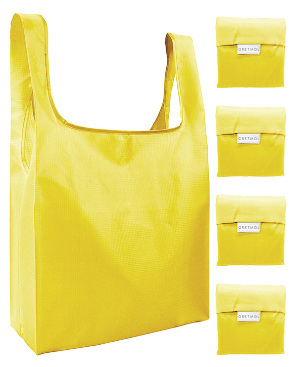 Reusable Grocery Bags 4 Pack Foldable Shopping Tote Bag - Yellow