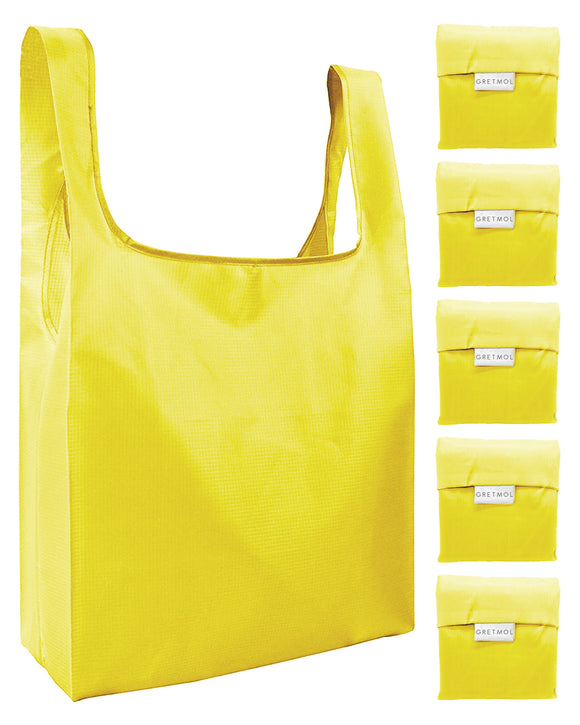 Reusable Grocery Bags 5 Pack Foldable Shopping Tote Bag - Yellow