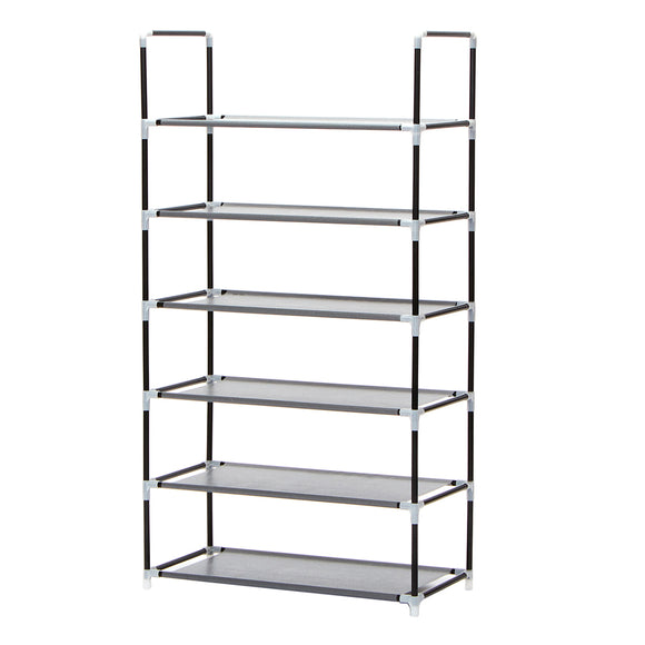 Shoe Rack Storage Organiser 6 Tier Modular Design - Black