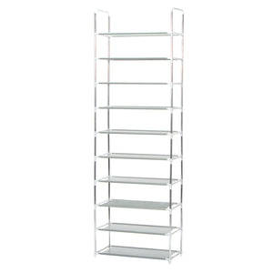 Shoe Rack Storage Organiser 10 Tier Modular Design - Grey