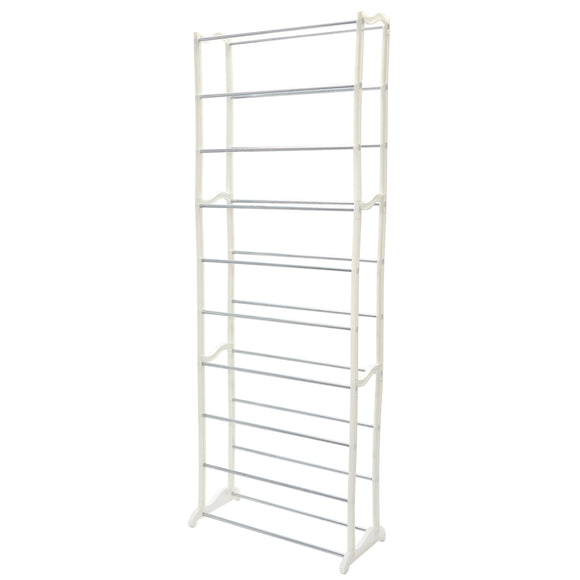 Shoe Rack Storage Organiser 10 Tier Tower - White