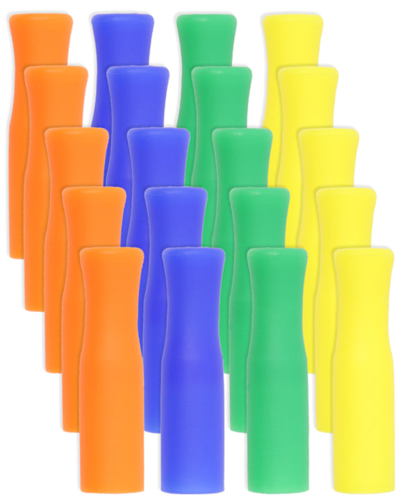Reusable Silicone Tips For Stainless Steel Straws - 20 Pack Mixed Colors