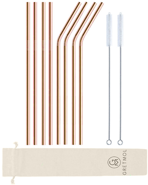 Reusable Stainless Steel Long Straws - 8 Pack Copper