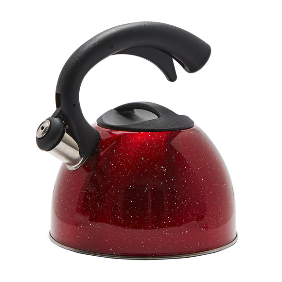 Stainless Steel Stovetop 3L Whistle Kettle Half Handle Speckled Red