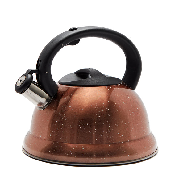 Stainless Steel Stovetop 3L Whistle Kettle Full Handle - Speckled Rose Gold