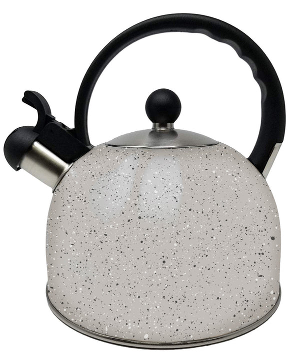 Stainless Steel Stovetop Whistle Kettle 2.5L Full Handle - Speckled Stone