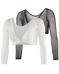 Gretmol Seamless Arm Shaper Long Sleeve Mesh Black & White 2 Pack - Medium