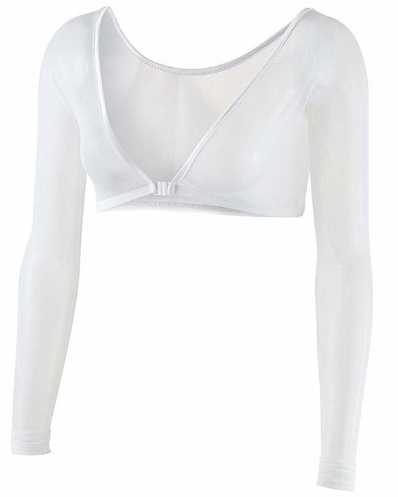 Gretmol Seamless Arm Shaper Shapewear Long Sleeve Mesh White - Medium