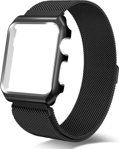 Gretmol Black Milanese Apple Watch Replacement Strap with Frame - 38mm