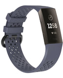 Gretmol Rock Blue Silicone Fitbit Charge 3 Watch Band With Vent Perforations
