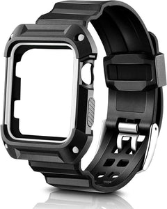 Gretmol Outdoor Black Rubber Shockproof Protective Strap with Frame - 42mm