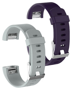 Gretmol Grey & Purple Fitbit Charge 2 Sport Silicone Straps Combo