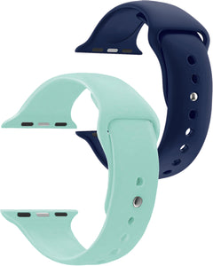 38 mm Navy & Turquoise Apple  Watch Novel Sport Strap Combo - Gretmol