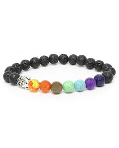 7-Crystal Chakra Healing Energy Bracelet Oil Diffuser Natural Lava Stone