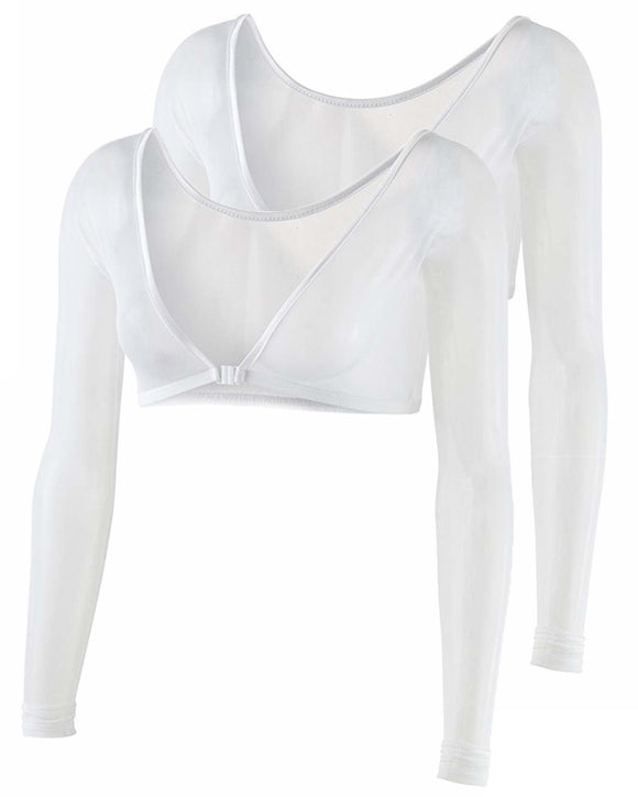 Gretmol Seamless Arm Shaper Long Sleeve Mesh White 2 Pack - Extra Large