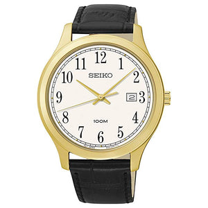 Seiko SUR086 Black Leather Watch