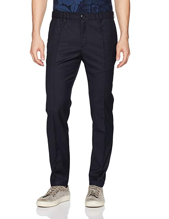 Armani Exchange Men's Front Creased Wool Blend Chino Pants, Navy, 34
