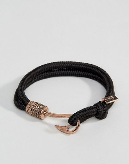 Icon Brand Hook Cord Bracelet, Black