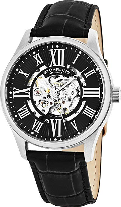 Stuhrling 747.02 Atrium Automatic Skeleton Black Watch
