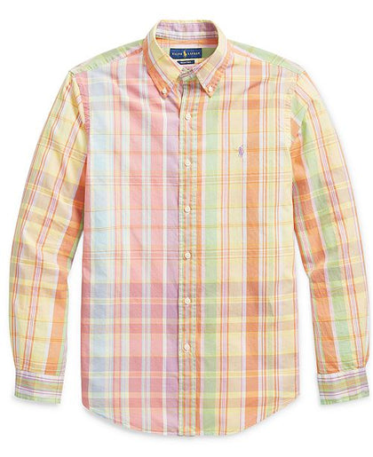 Ralph Lauren Orange Button Down Plaid Long Sleeve Shirt, XL