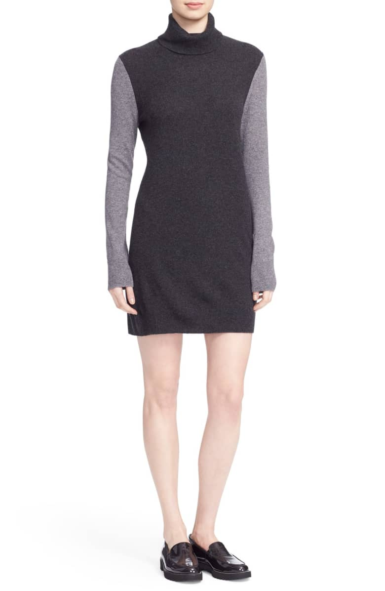 Equipment Turtleneck Cashmere Sweater Dress, L