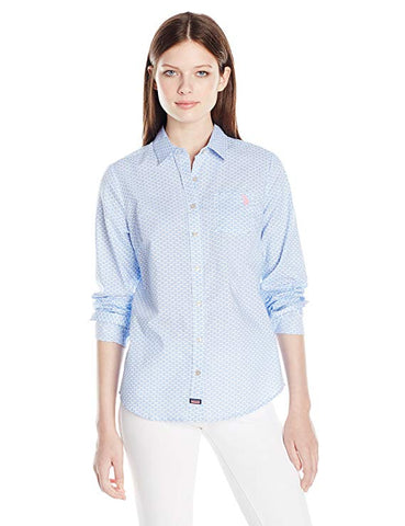 U.S. Polo Assn. Junior's Flower Print Poplin Long Sleeve Shirt