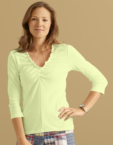 Orvis Garment-Washed Ruffled V-Neck Tee, M