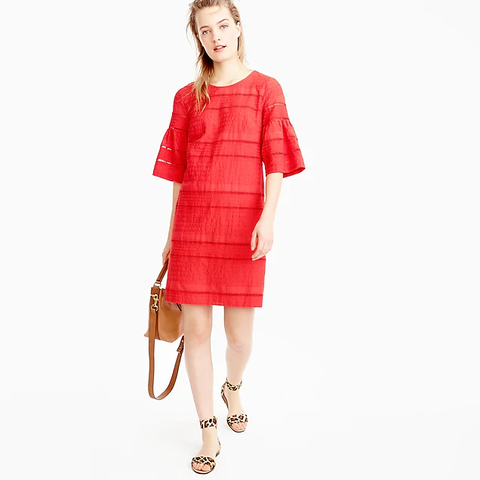 J.Crew Flutter-Sleeve Shift Dress in Eyelet, XS