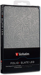 Verbatim Folio Case with LED Light for Kindle 4 and 5 (only), Slate Silver 98079