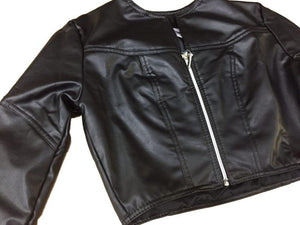 Soleil Short Eco Leather Jacket, Black, Small