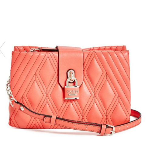 Guess Shea Purse Quilted  Crossbody Handbag,Coral Pink