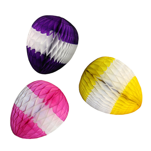 3-Pack 12 Inch Striped Easter Egg Decorations - MULTIPLE COLORS