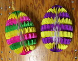 16 Inch Striped Honeycomb Egg Decoration - Multiple Color & Pack Options