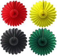 4-Piece Kwanzaa Themed Solid 18 Inch Tissue Fanburst Fans