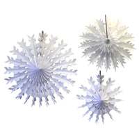 3-Piece Tissue Paper Snowflakes - 15, 19, 22 inch - MULTIPLE COLOR OPTIONS
