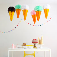 20 Inch Ice Cream Honeycomb Decorations - Set of 6