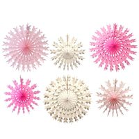 6-Piece Tissue Paper Snowflake Decorations, Pink Mix (15-22 Inch)